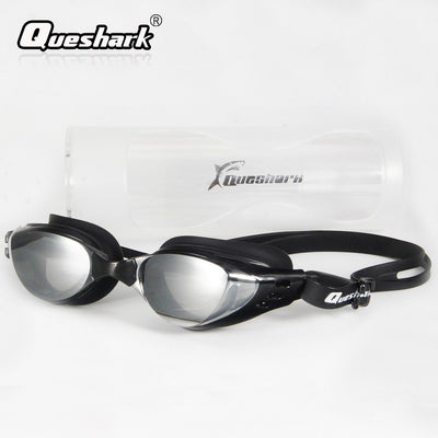 QUESHARK Swimming Goggles With Earplugs Anti-fog Uv Protection Swimming Glasses Adjustable Silicone Swim Eyewear