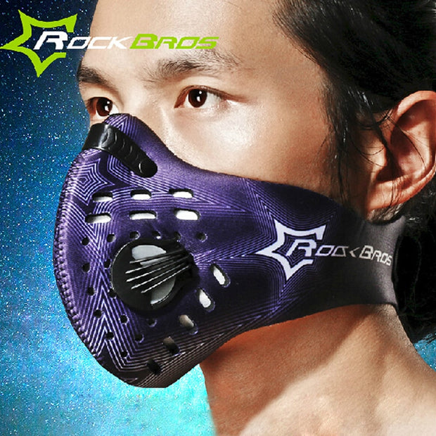 ROCKBROS Carbon Cycling Face Mask Dustproof Sport Running Training Bike Mask Filter Downhill Bicycle Mask Mascara Bicicleta