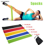 Resistance Bands 5 Levels Exercises Elastic Fitness Training Yoga Loop Band Workout Pull Rope Strength Stretching With Carry Bag
