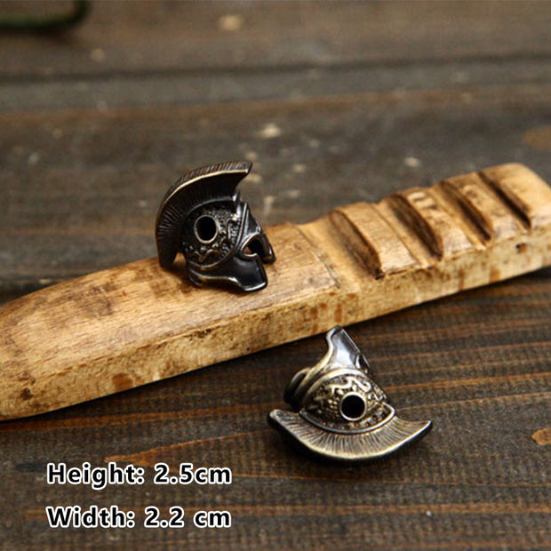 Roman Soldier Brass Retro Knife Beads DIY Accessories Umbrella Rope Pendant Paracord Accessories Tourism Keychain Tool Equipment