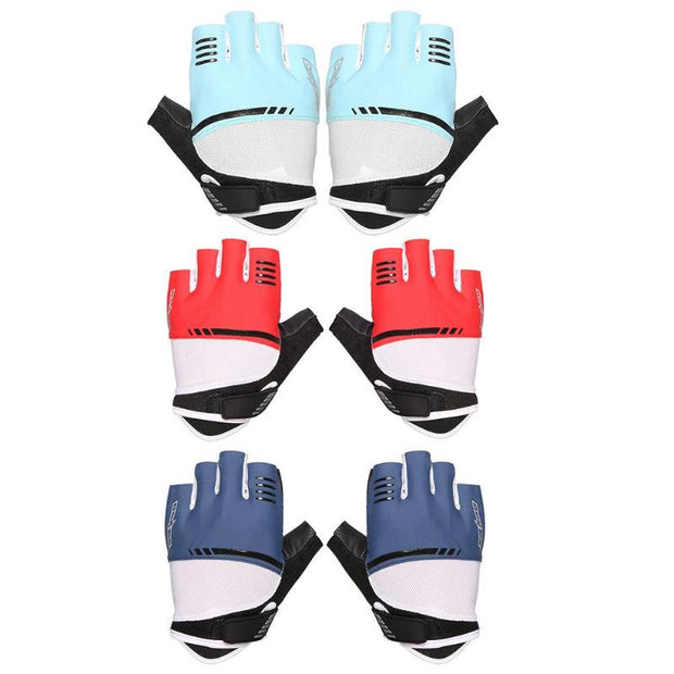 SAHOO 1Pair Half Finger Anti Slip Sponge Pad Cycling Running Sports Gloves Fitness Training Exercise Workout Wrist Wrap Mittens