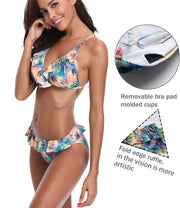 SEXYWG Sexy Bikinis Set Swimsuit 2018 Summer Bandage Swimwear Bikini Bottom Coconut Tree Print Multi-color Beach Swimming Suits