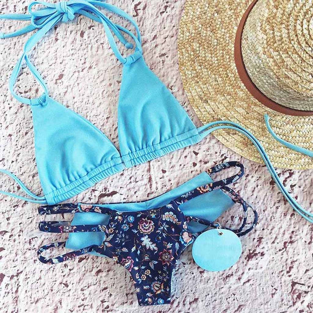 Sexy Bikini 2019 Mujer Women Bandage Brazilian Push Up Floral Bikini Hot Mini Halter Bikinis Swiming Suit Women Stroje Kapielow