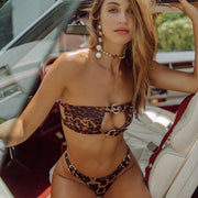 Sexy Bikini 2019 Swimsuit Women Swimwear Bikini Set Push Up Swim Suit Leopard Skin Splicing Backless Buckle Swimwear Women