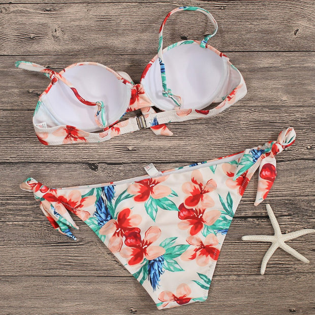 Sexy Floral Bandage Push-up Two Pieces Bikini Set Padded Bathing Suit Swimwear For Women(XL)