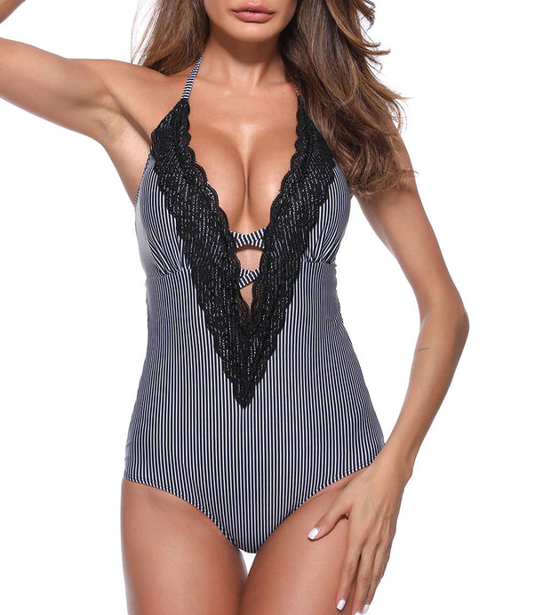 Sexy Lace Striped Print Halter Hot Backless High Waist Beach Swimsuit Swimwear Summer Women Sexy V-neck Push Up One-Piece Suits