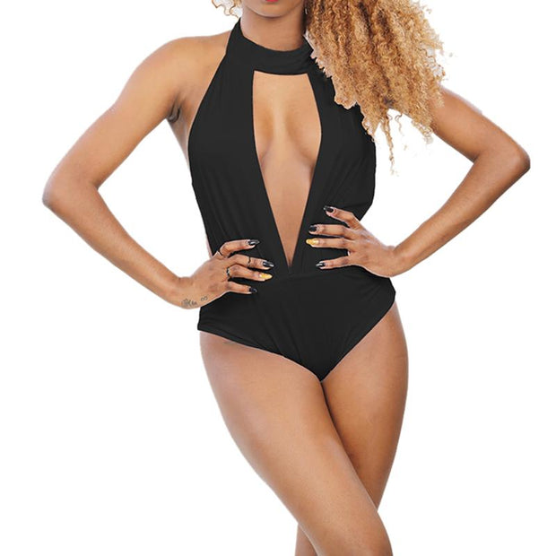 Sexy Lady Hanging Neck Swimwear Summer Beach Woman One-Piece Swimsuit Solid Color High-Quality Fabric Bathing Suit