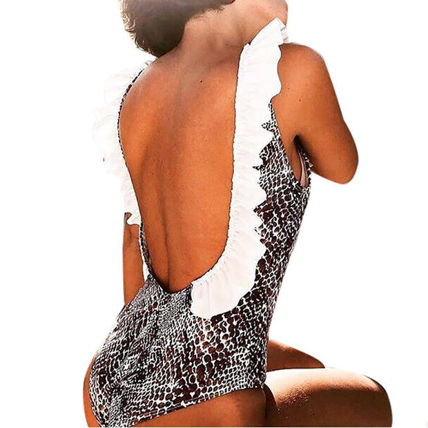 Sexy One Piece Swimsuit For Women Girls Snake Print Swimwear High Waist Swimsuits Summer 2019 Swim Suits Maillot De Bain Femme