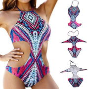 Sexy Retro Floral Halter Bikini Crop Top Split Swimwear Brazilian Beach Bathing Suit Women Swimsuit High Neck Bikini 2018