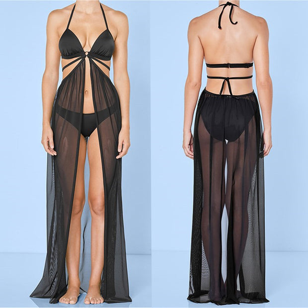 Sexy Solid Beach Cover Up Sarong Summer Bikini Cover-ups Wrap Pareo Beach Dress Mesh Skirts Towel