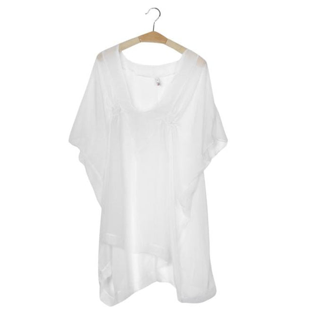 Sexy Summer Swimsuit Chiffon Hollow Crochet Beach Bikini Cover Up 3/4 Sleeve Women Tops Swimwear Beach Dress White Beach Tunic