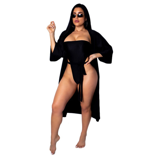 Sexy Swimsuit Womens Summer Beach Bathing Suit Bodysuit Off Shoulder Bikini Set+Cover Up Cardigan Swimwear 2PCS Beachwear Suit