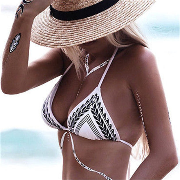 Sexy Swimwear Women Bikini Set Bandage Push-Up Swimsuit Bathing Beachwear With Thin Pad