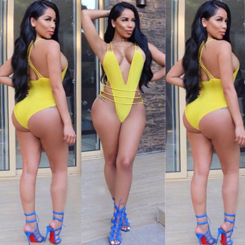 Sexy Women 2018 New Summer One-Piece Deep V Neck Swimsuit Bandage Bikini Push-up Backless Bather Suit Swimwear Swimming Suit