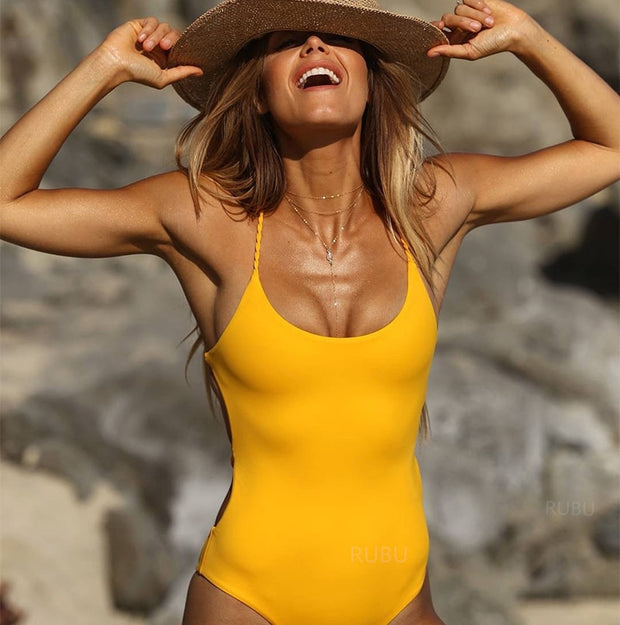 Sexy Women 2018 One-Piece Halter Bandage Backless Bikini Swimwear Monokini Hollow Out Swimsuit Bathing Suits Beach Wear Overalls