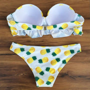 Sexy Women Bandeau Strapless Bikini Pineapple Padded Swimwear Swimsuit Beachwear