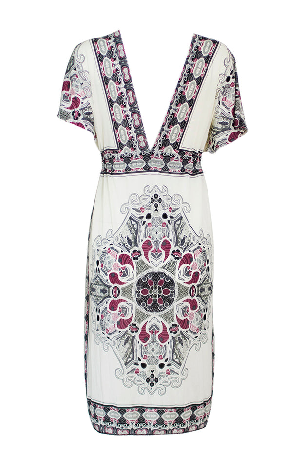 Sexy Women Dress Mini Print V-neck Loose Dresses White M