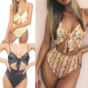 Sexy Women One-Piece Push Up Bikini High Cut Out Printed High Waist Bandage Monokini Swimsuit Bathing Swimwear