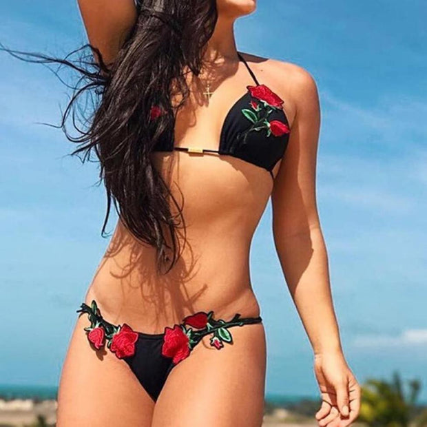 Sexy Women Rose Applique Bikini Set Push-up Padded Bra Swimsuit Bathing Swimwear Bandage Bikini Set 2018 Brazilian Bikini Beach