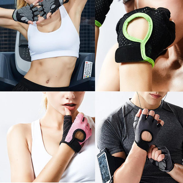 Sports Fitness Gloves For Men Women Half Finger Slip Breathable Weight Lifting Riding Gloves Black Pink Gray Green S M L XL Size