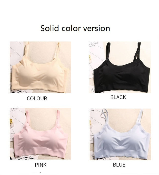 Sports Bra Without Trace Vest-style Frameless Strap Yoga Running Shockproof Sleep Underwear Female