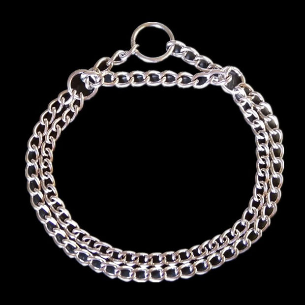 Stainless Steel Chain Pet Collar Double Chain For Pony Dog Cat Adjustable Metal Dog Training Choke Collars For Medium Pet
