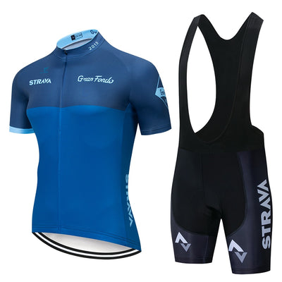 Strava Pro Bicycle Racing Team Short Sleeve Maillot Ciclismo Men's Cycling Jersey Kits Summer Breathable Cycling Clothing Sets