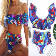 Summer Fashion 2019 Women Two Piece Off Shoulder Padded Sexy Bikini Ruffled Vintage Printed Monokini Hollow Backless Swimsuits