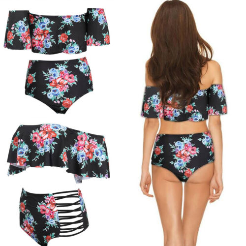 Summer Women Lotus Leaf Push-Up Padded Bra High Waist Floral Print Hollow Out Beach Island Floral Printed Bikini Set