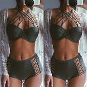 Sumnmer Women Sexy Push Up Swimwear Black Hollow Out Padded Lace Bikini Set High Waist Swimsuit Bathing