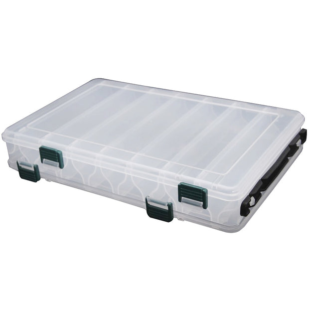 Super Sell-27*18*4.7CM Fishing Tackle Double Sided Plastic Fishing Lure Box 14 Compartments