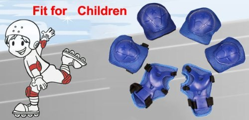 Super Sell Children Skating Knee Elbow Wrist Protective Guard Pad Set Solid Blue