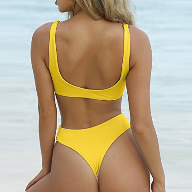 * Swimsuit 2019 Bikini Swimwear Women Push Up Solid Bandaue Bikini Set Beachwear Bathing Suit Bodysuit Women's Swimming Suit