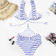 Swimwear Women Triangle Bikini Set Striped Bandage Ruffles One Piece Suits Push-Up Swimsuit Bathing Beachwear