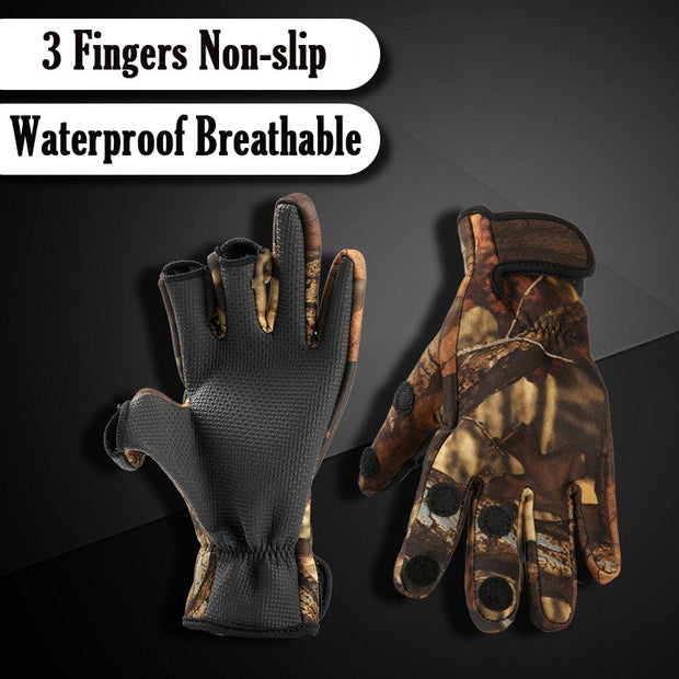 Three Finger Cut Keep Warm Fishing Gloves Breathable Anti-Slip Gloves Neoprene Fishing Equipment Equipamento De Pesca