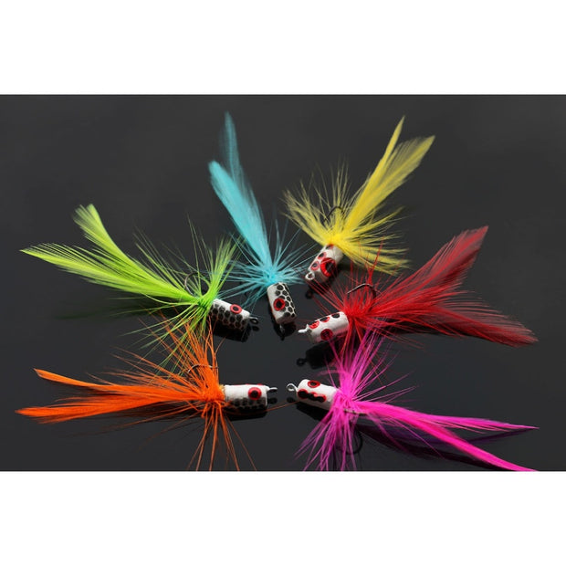 Tigofly 12 Pcs/lot 6 Colors Mixed Hackle Body Tail Foam Head Popper Bass Fly Fishing Flies Lures- Size #6