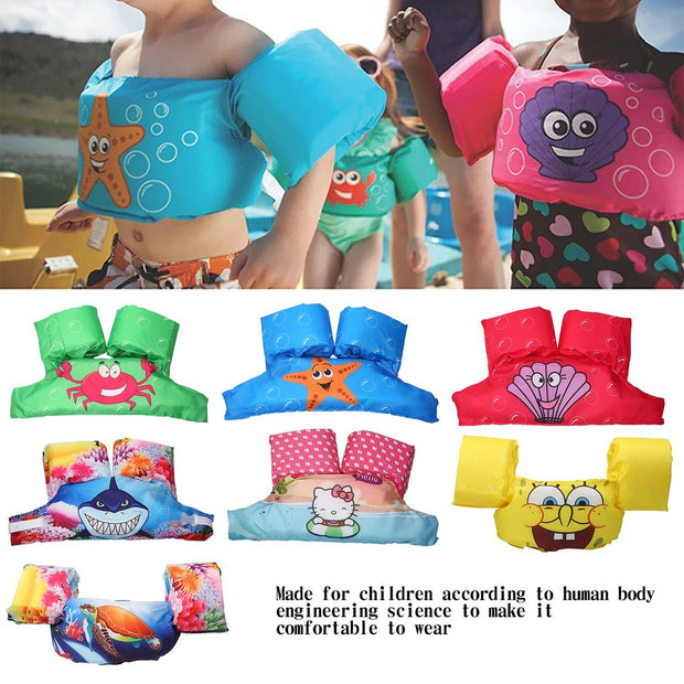 Toddler Life Jacket Kids Swim Vest Arm Bands Swimming Pool Wear Float Kids Swimwear Bubble Swimsuit Eco-friendly PVC