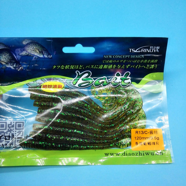 Trulinoya 24pcs/lot Earthworm Artificial Fishing Lure 3.5g/120mm 3colors Super Soft Long Tail Lure Curly Tail Worm Swimbait