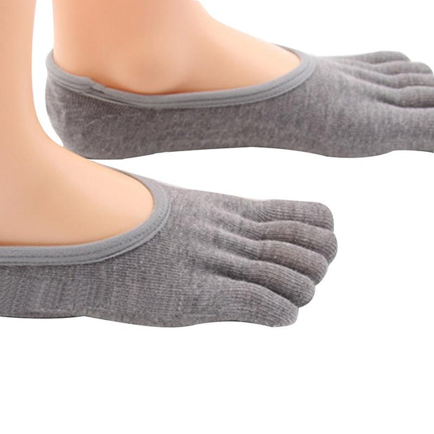 Uncovered Instep Five Toes Socks Ladies Yoga Socks With Silicone Non - Slip Sole Combed Cotton Sports Fitness Shallow Mouth Sock