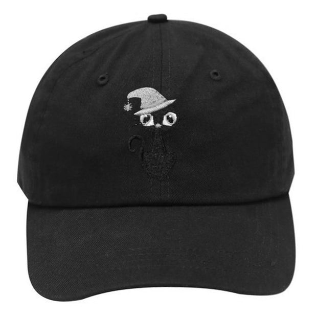Unisex Halloween Black Cat Embroidery Fashion Baseball Cap 100% Cotton Adjustable New Snapback Hat Funny Hip Hop Caps Wholesale