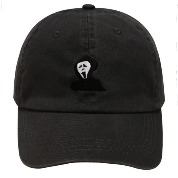 Unisex Cotton Washed Ghost Embroidery Retro Baseball Cap Adjustable New Dad Hat Cool Casual Golf Hats All Match High Quality