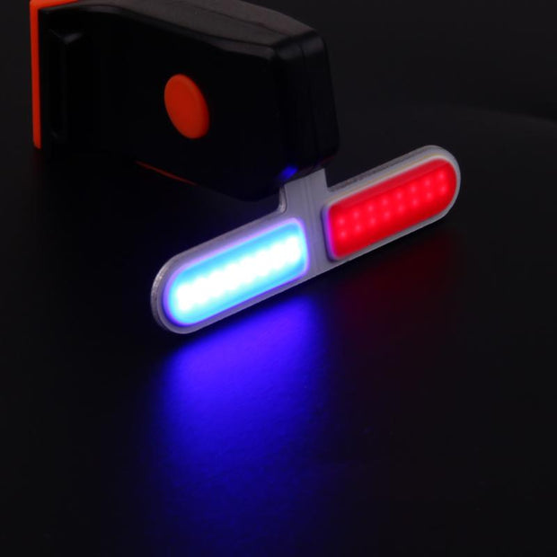 Universal USB Bicycle Light Police LED Red Blue Tail Light Rechargeable Flashlight Safe Riding Bicycle Night Riding Bicycle Tail
