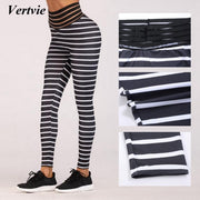 Vertvie 2019 Striped Print Yoga Pants Women High Waist Elastic Trouser Athletic Pencil Pant Outdoor Fitness Gym Sweat Leggings