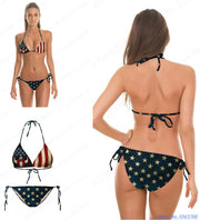 Vintage USA Flag Bikini Set Striped Star Push Up American Flag Swimsuit Two Pieces Bandage Retro Bathing Suits Printed Hottest