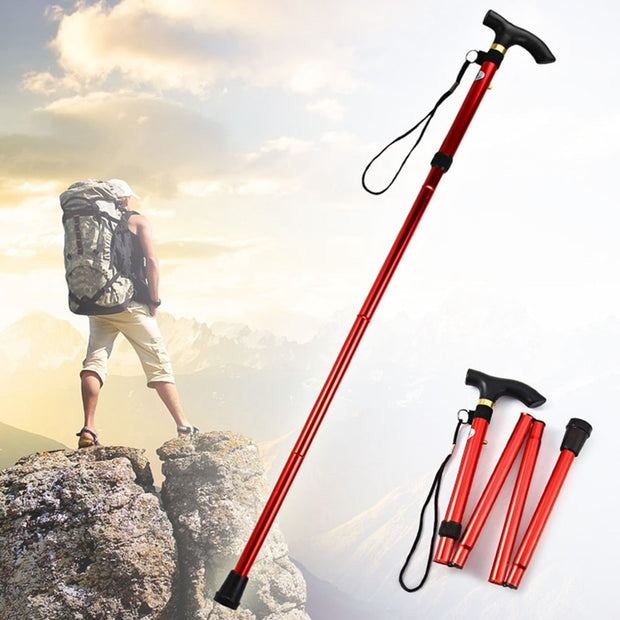 Walking Stick Hiking Trekking Trail Ultralight 4-section Adjustable Canes Aluminum Alloy Folding Cane Walking Sticks