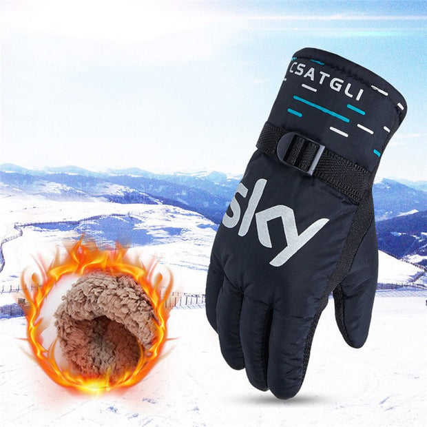 Warm Ski Gloves Men Cycling Gloves Winter Thermal Gloves Outdoor Motorcycle Riding Windproof Thicken Ski Gloves #2d04