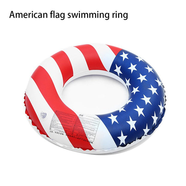 Water Sports US Flag Swimming Ring Pool Inflatable Rainbow Swim Ring Adult Swim Ring Lifebuoy Inflatable Toy For Children #3j18