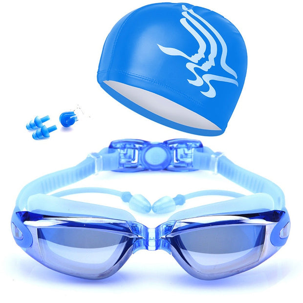 Wholesale Women Flexible Swim Glasses Goggles Kit Coated Lens Anti Fog Case Nose Clip Ear Plugs Badmuts Swimming Caps Set