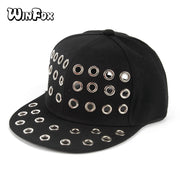 Winfox New Punk Fashion Spring Summer Adjustable Women Mens Black Eyelet Hole Baseball Caps Gorras Snapback Hip Hop