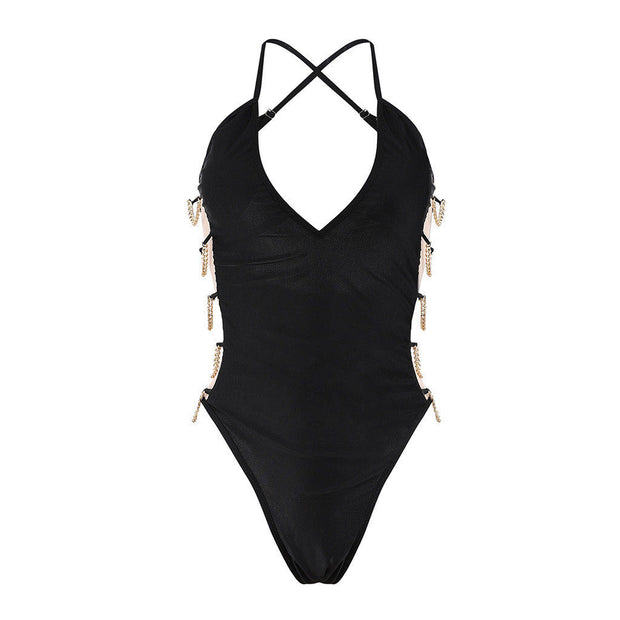 Women Backless Monokini Bikini Push-up Padded Bra Swimsuit Bathing One Piece